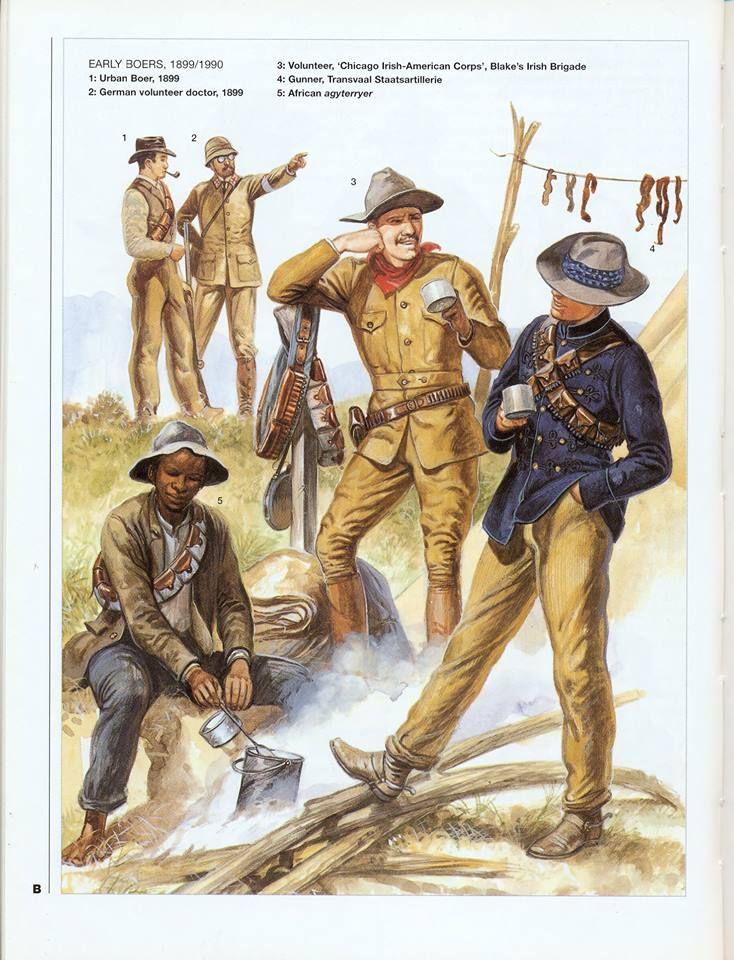 EARLY BOERS 1899-1900 1:Urban boer,1899.2:German volunteer doctor,1899.3:Volunteer,'Chicogo Irish-American Corps',Blake's Irish Brigade.4:Gunner Transvaal Staatsartilierie.5:African agyterryer