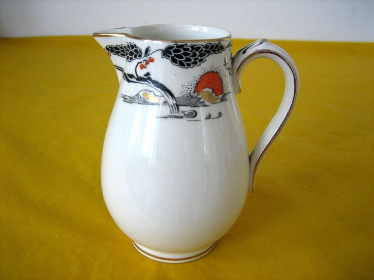 RARE ANTIQUE c.1930 BOOTHS CILICON CHINA MILK JUG dia 4.5 , flaw&wear on gold