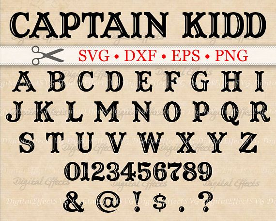 Captain Kidd Monogram Svg Dxf Eps Png Files Pirate Font, Files for Cricut & Silhouette