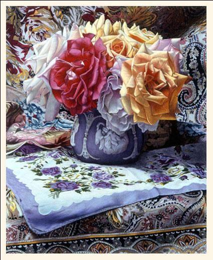 Signs and Wonders by Barbara Edidin ~ roses in full bloom ~ handkerchief ~ ornate fabrics ~ colored pencil art