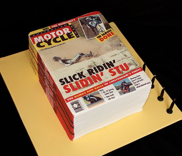 Motorbike magazine stack birthday cake   Book cakes, Planet cake, Birthday cake