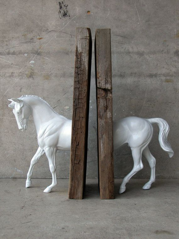 Warmblood Sculpture Horse Bookend by EQUINEbyLauren on Etsy, $75.00/ or cut a horse in half, spray paint white, attach to boards-If I only knew this one when I was a girl. Had plenty of plastic horses back then!