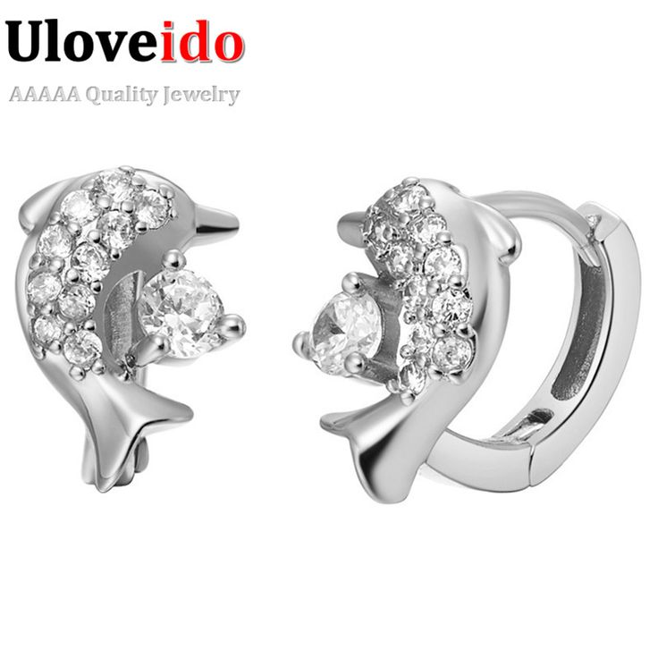 Find More Stud Earrings Information about Dolphin Stud Earrings for Women Bijoux Brinco Cubic Zirconia Silver Plated Fashion Earings Charms Jewelry Prong Zircon R529,High Quality diamond tennis bracelet platinum,China diamond grit hole saw Suppliers, Cheap diamond music note jewelry from Uloveido Official Store on Aliexpress.com