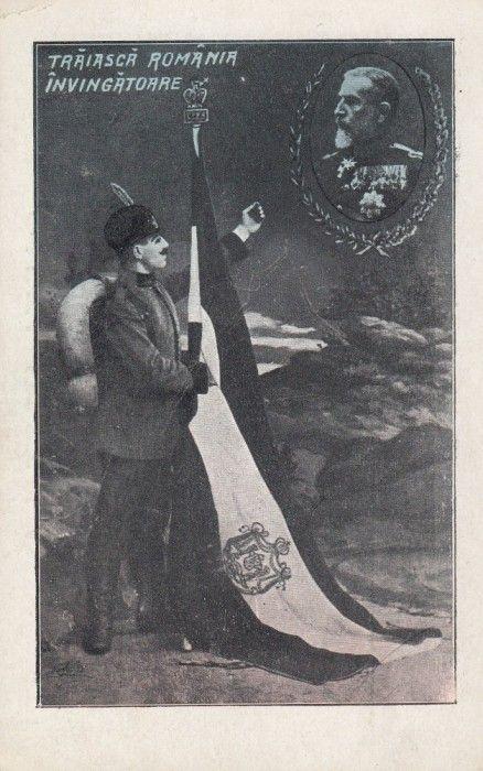 MILITARA , TRAIASCA ROMANIA INVINGATOARE , REGELE CAROL I  DRAPELUL TARII SOLDAT foto mare