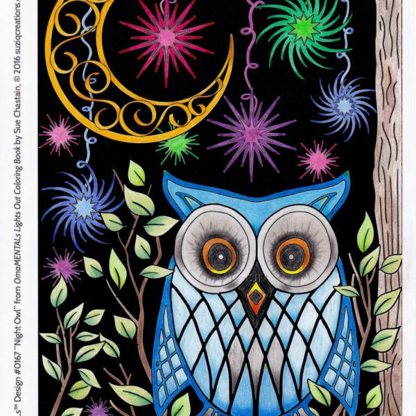 Mr. Argyle Owl, colored by Cindy Nation. From OrnaMENTALs Lights Out PDF Digital Edition from SuziQ Creations. Printable PDF version includes black backgrounds and WHITE background copies of the pages