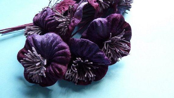 Velvet Flowers Yoyo Millinery Flowers in Plum Ombre Velvet for  Hats, Bridal, Fascinators, Headbands MF 219