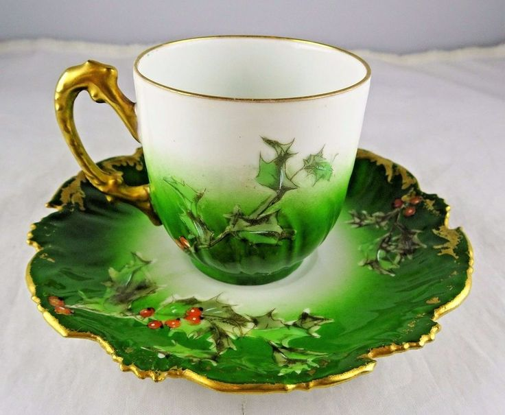 T & V Limoges French Porcelain Hand Painted Holly Green Cup & Saucer Set