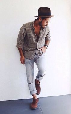 Casual hipster mens fashion. Fedora hat, loose fit shirt and distressed jeans…