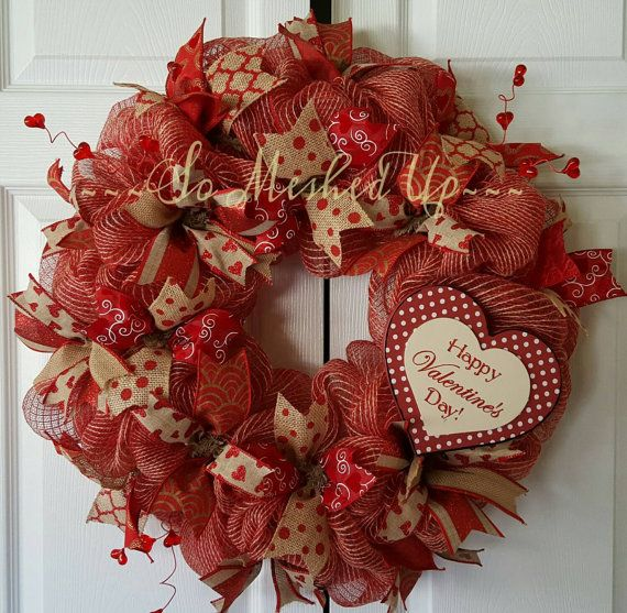 Happy Valentine's Day! Now Available Check in my Etsy shop https://www.etsy.com/listing/263830208/burlap-jute-mesh-valentines-day-wreath