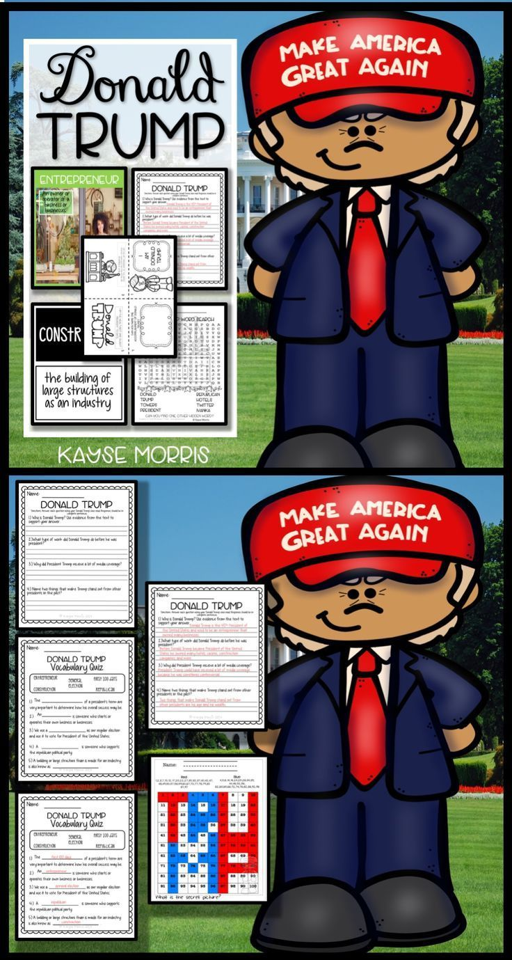 The United States has a new president as of January 2017, so help your students learn more about Donald Trump and his path to the presidency with the help of this mini-unit! It includes a reading passage, comprehension questions, vocabulary, foldables, and more! Click through to get more information.