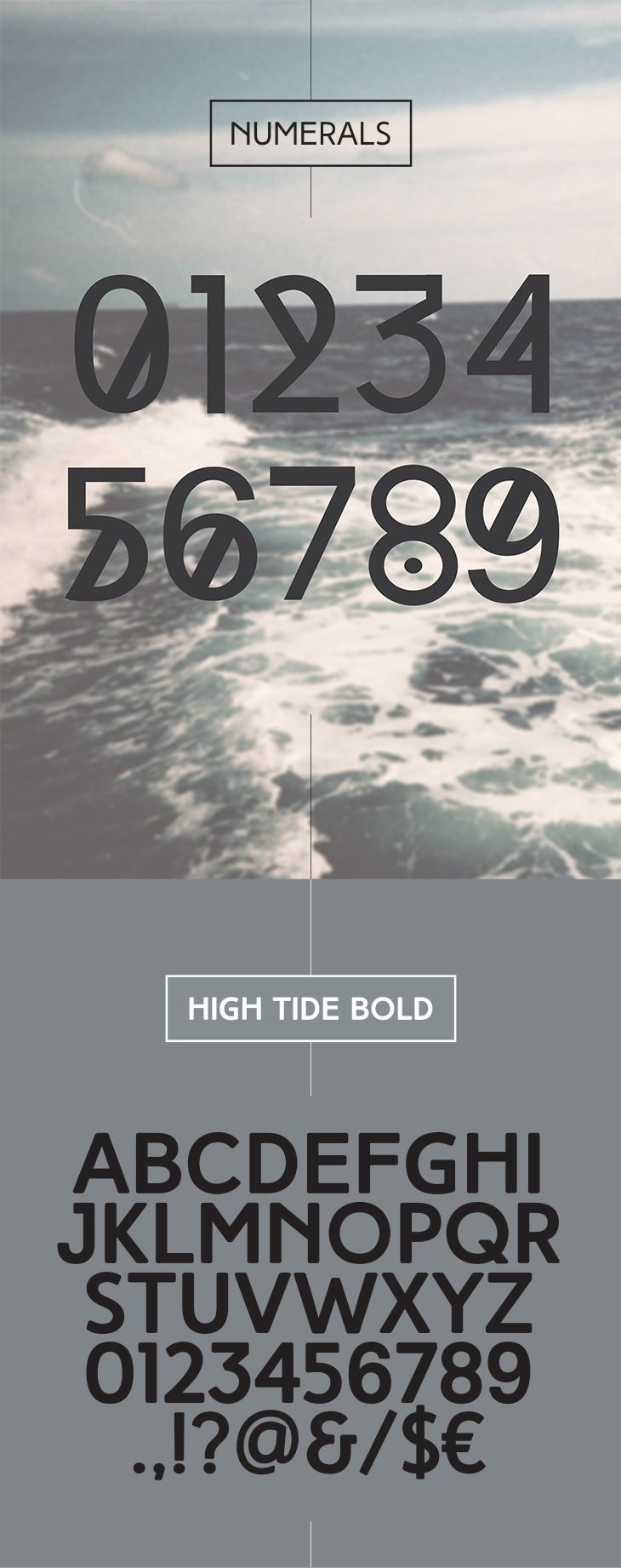 sterling silver High Tide  C unique free font family of three completely different weights  C Regular  Bold and Original  High Tide is an all caps  decorative typeface designed to be most suitable for titles  headlines  posters  logos  etc
