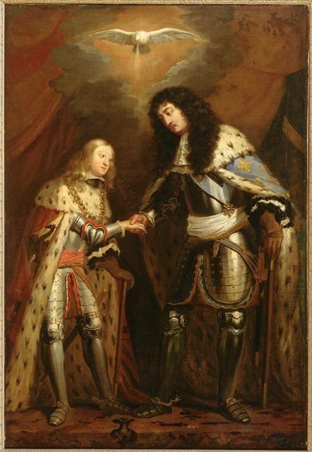 Entrevue de Louis XIV et de Charles II d'Espagne, scellant leur alliance sous la bénédiction du Saint-Esprit.