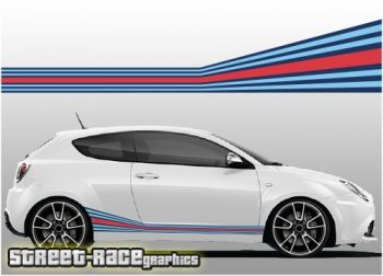 Alfa Romeo MiTo Martini style printed racing stripes