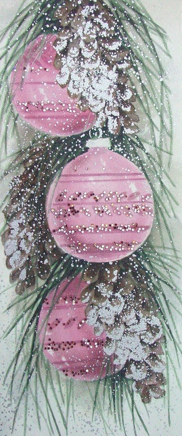 Vintage Pink Christmas Card by Danielle 5026