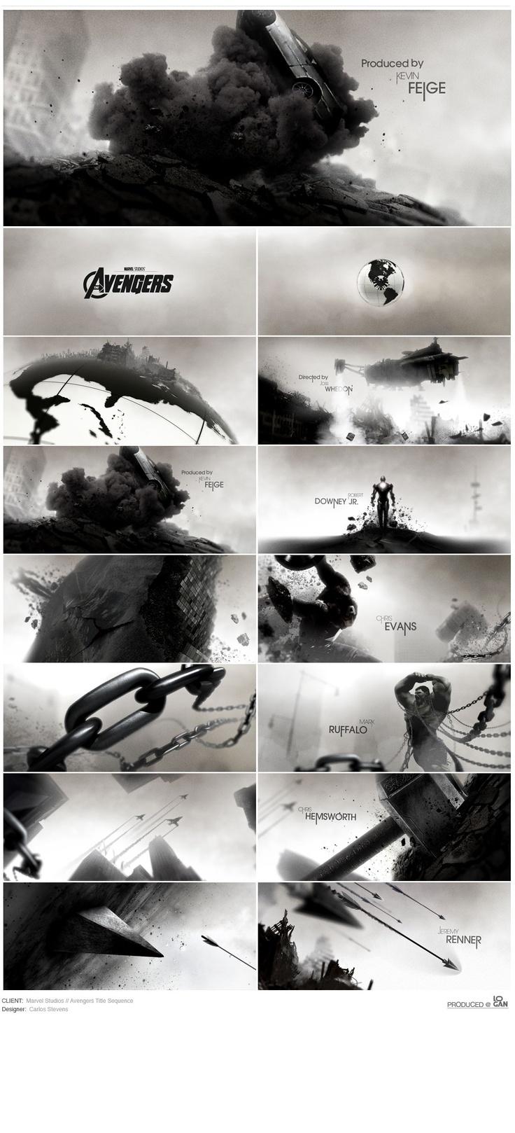 Avengers - carlosstevens.com   avengers title sequence titles black white illustration