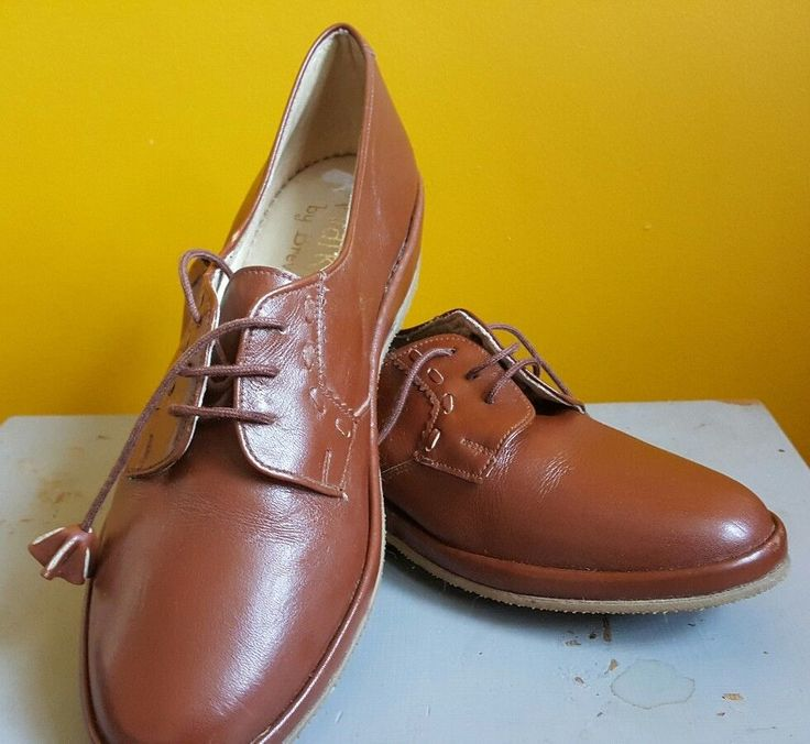 Vintage Ladies BREVITT Genuine Brown Leather Lace Up Shoes UK 6.5 #Brevitt