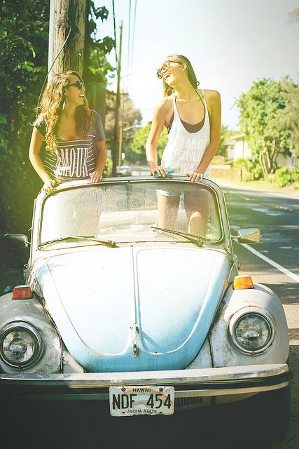 Going to the beach with my best friend in a cute bug!@Gretchen Schaefer Schaefer Purcell