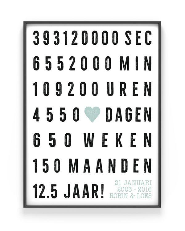 Huwelijk Jubileum Poster - Voor 1, 5 , 10, 12.5, 25, 40, en 50 jaar. Diverse kleurcombinaties mogelijk. Met eigen namen- Zelf posters maken bij printcandy