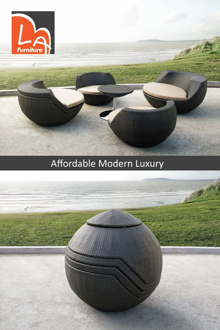 Ovum Modern Brown 5 Piece Egg Shaped Wicker Patio Set. Features rounded modern seat design, fabric padded seat cushion, and a round wicker table with a sturdy stainless steel base. #modernpatiofurniture