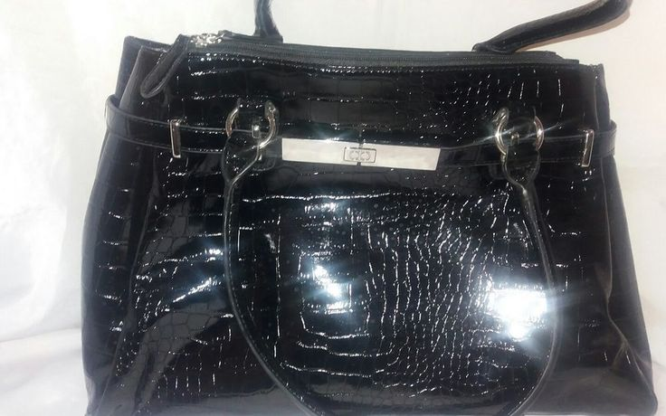 ladies black patent Debenhams collection handbag