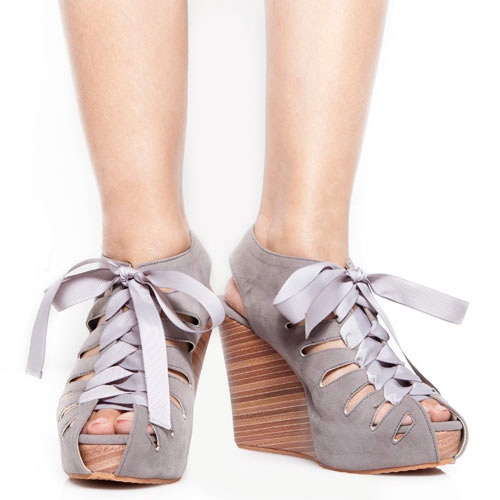 Eight Shoes - Goldie Grey Bow Tied Wedges - Rp. 239.500