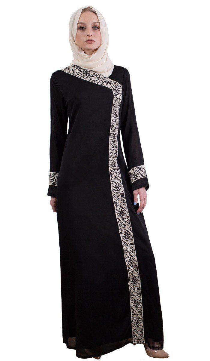 01e9790b506 Nakhl Embroidered Formal Maxi Abaya Dress - Black - ARTIZARA.COM