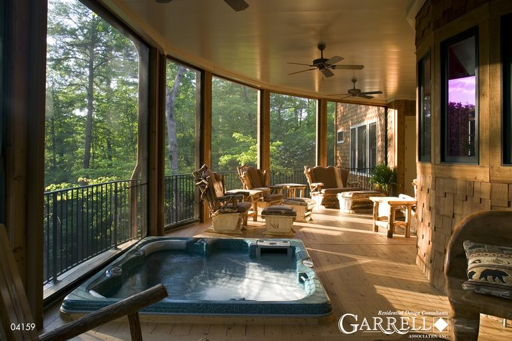 Covered deck with hot tub tranquility house plan by for Tranquility house plan