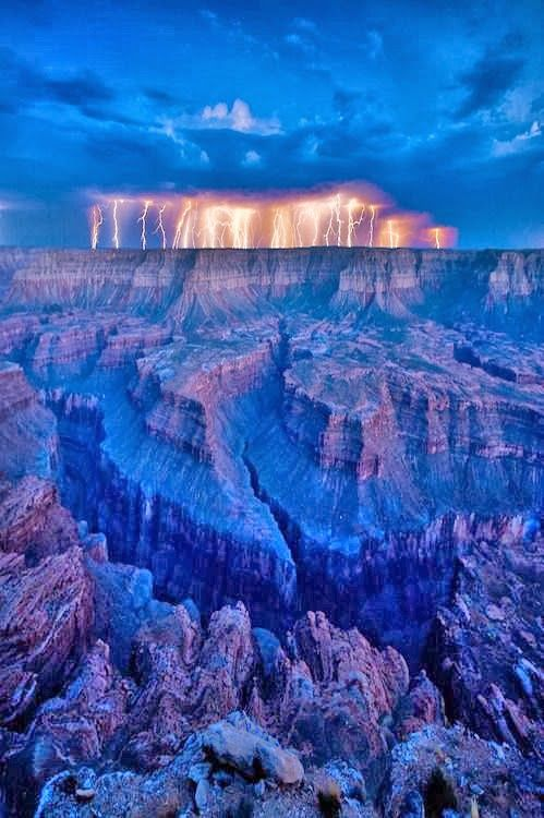 Crazy monsoon action resulted in a wild electrical storm at the Grand Canyon