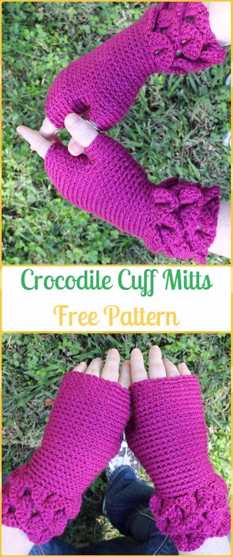 Crochet Crocodile Cuff Mitts Free Pattern Crochet Dragon Scale