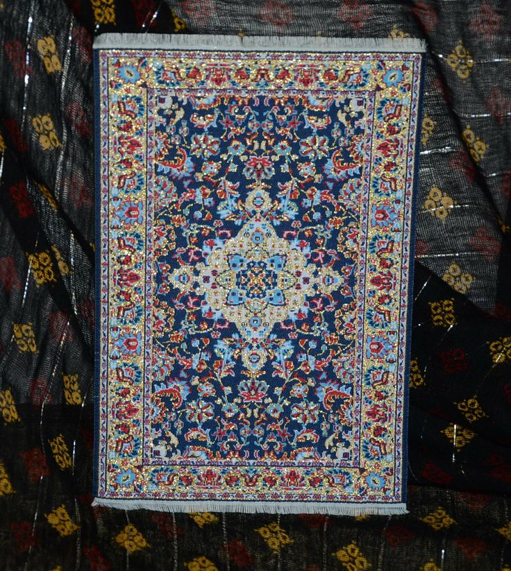 "Replica of a Turkish carpet. Blue and gold mouse pad. 8 1/2"" X 5 1/2"""