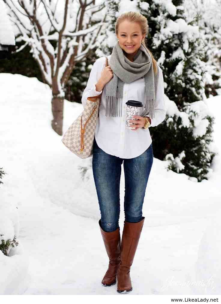 Style Fashion Clothing Women Outfit Winter Scarf Gray Blue Jeans Brown Boots Shoulder Bag Watch