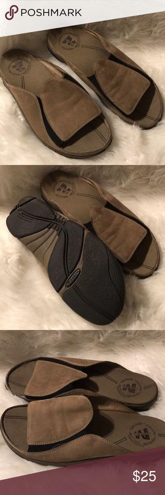 Men's Merrell sandals Size 10. Tan/Taupe color. Slides. Sandals. Excellent condition. Merrell Shoes Sandals & Flip-Flops