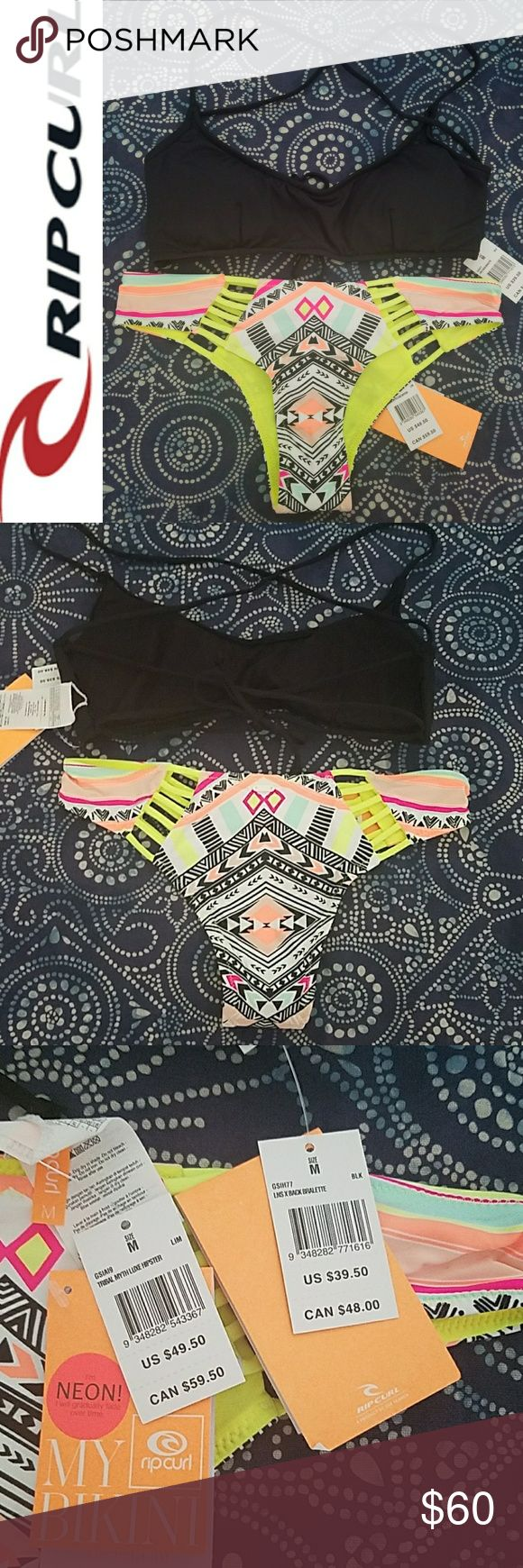 NWT Rip Curl Bikini Size Medium New with tags! Rip Curl Bikini: Neon Print Hipster Bottoms & Solid Black Strappy Crossback Bralette. Both Size Medium. Hygienic liner still attached to bottoms. Top has embroidered logo on chest. Bottoms have a white rubber logo on the back near the top.   Sorry - no trades. Bundle and save! From a smoke-free home. Rip Curl Swim Bikinis