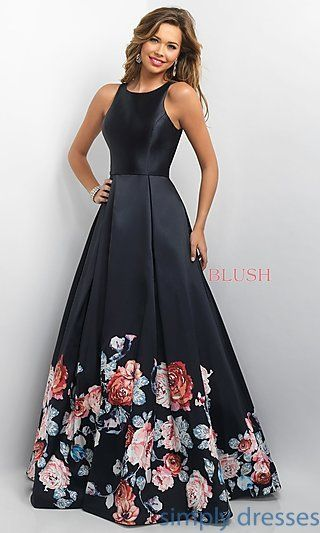 Shop long prom ball gowns at Simply Dresses. Blush prom dresses and floral-print prom dresses with open backs, scoop necks and long full skirts.