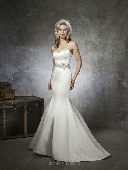 Trumpet/Mermaid Sweetheart Satin Sweep Train Sashes / Ribbons Wedding Dresses -GBP£135.09