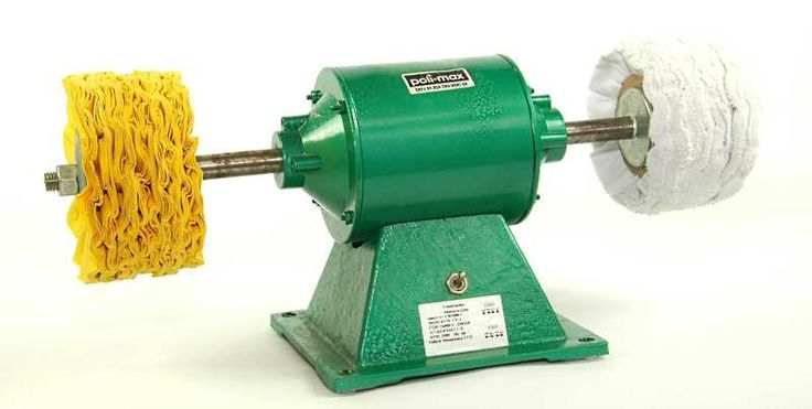 """Politriz profissional de bancada  http://www.poli-max.com/accessorios-de-polimento-maquinas  1CV, 3500 RPM, 110 ou 220 V, diametro do aixo 5/8"""" (16 mm)  Podende aceitar até 5 discos pro lado, tendo um espaço máximo 11 cm entre 1 disco de polir e sua carcaça."""