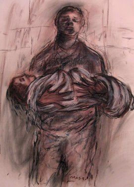"""Saatchi Online Artist Masri Hayssam; Drawing, """"Even the angels die in our countries..."""" #art"""