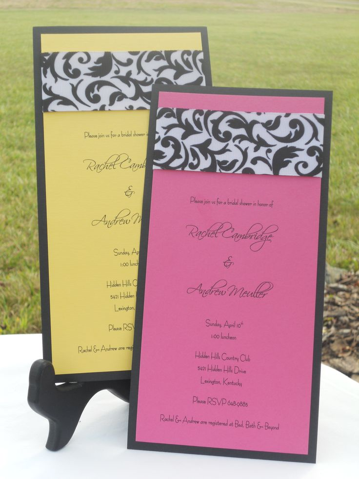 recipe themed bridal shower invitation wording%0A Items similar to Handmade Fuchsia  Black  u     White Bridal Shower Invitations  on Etsy