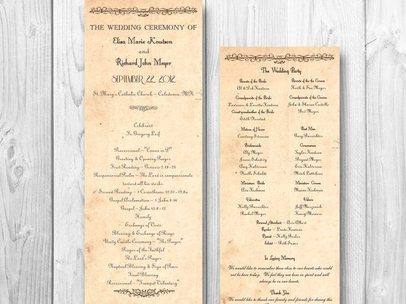 Rustic Country Wedding Program - Country order of ceremony shabby chic wedding