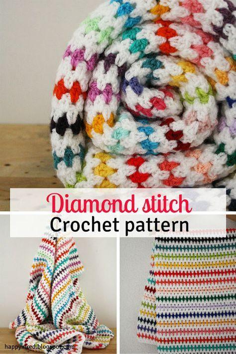 Happy in Red: Diamond stitch blanket crochet pattern: step by st...