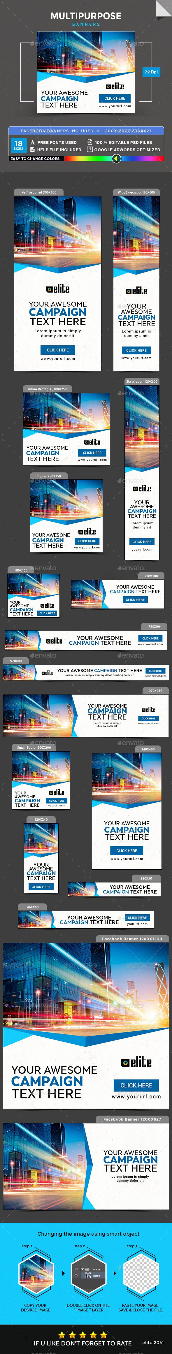 Multipurpose Banners Template PSD #ads #web