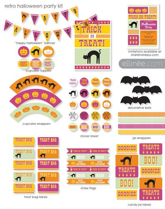 [free printable] Retro Halloween Party Kit in pink and orange. Perfect for kids - not super scary, mostly cute! :)