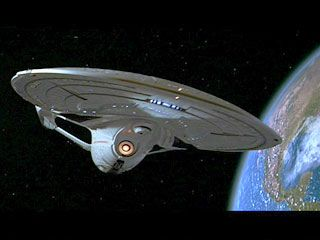 Star Trek: First Contact-Enterprise-E in orbit around past Earth.
