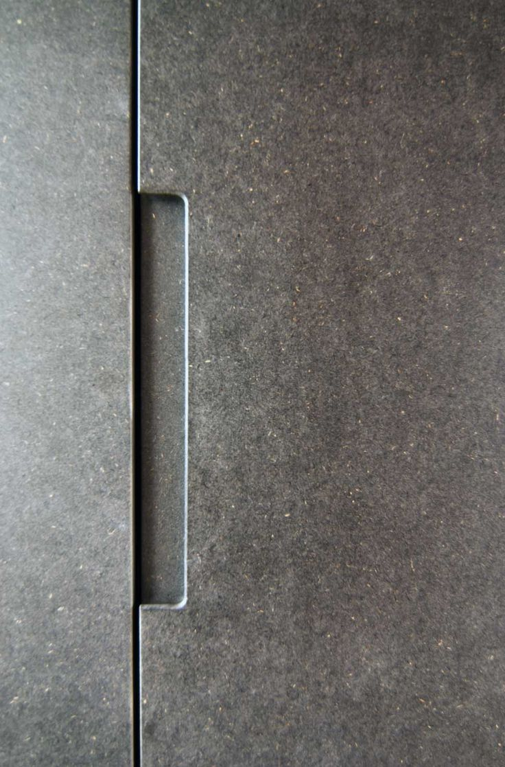 Grey mdf handle, Trevelyan House by Bradley Van Der Straeten Architects