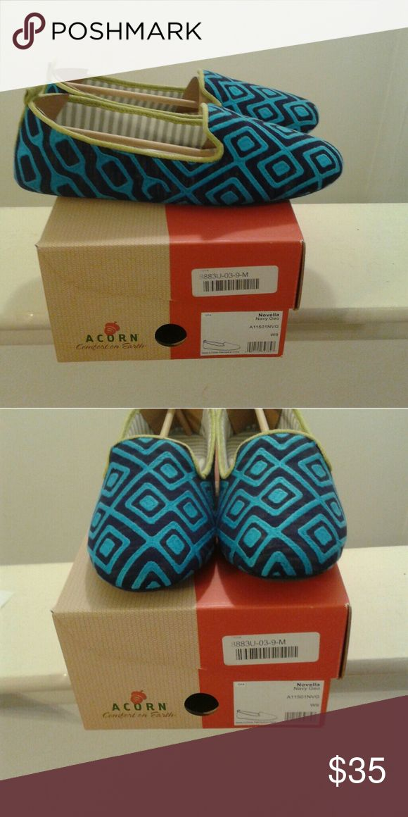 ACORN Women's Novella Slippers New, size 9M, but fit better size 8.5. Color Blue Turquoise with black. Cushioned insole with padded arch support. Rubber Sole. Very comfortable. Acorn Shoes Slippers