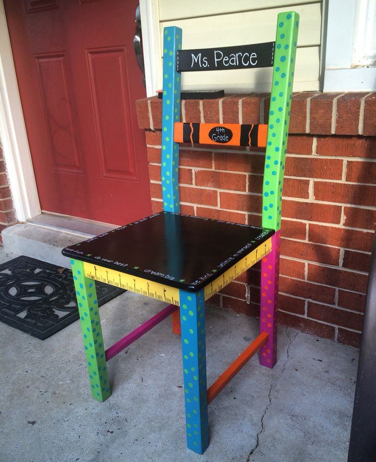 """A chair I painted for my sister in law's classroom. This was so fun to do!!  the seat has quotes around the edge such as """"try your best,"""" """"have fun,"""" and """"never give up.""""    Teacher chair. Share chair. Classroom chair. Painted chair.    #paintedchair #teacherschair #sharechair"""