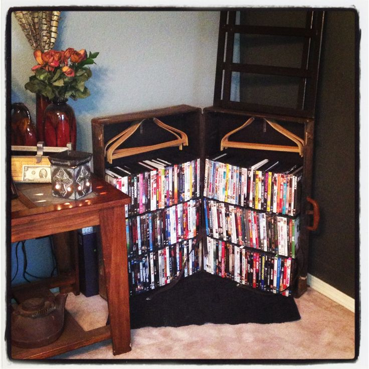 Repurposed Samsonite Wardrobe into a DVD stand!! Love this!