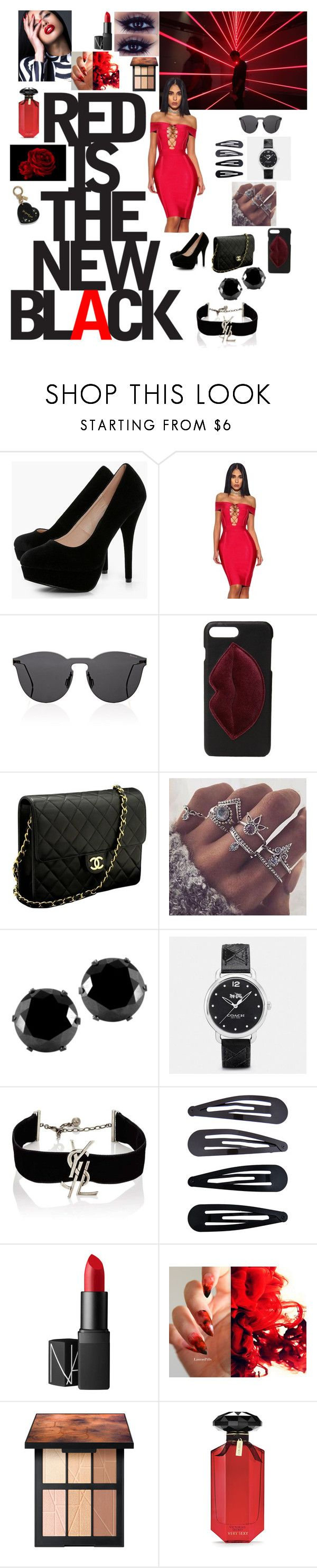 """""""Red is the new black"""" by kookkaty ❤ liked on Polyvore featuring Boohoo, Illesteva, Kendall + Kylie, Chanel, West Coast Jewelry, Coach, Yves Saint Laurent, De Lacy, Accessorize and NARS Cosmetics"""