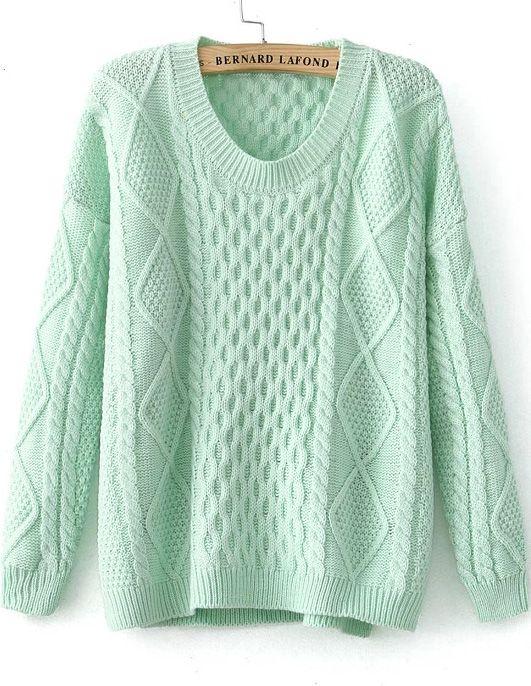 Mint Long Sleeve Diamond Patterned Knit Sweater