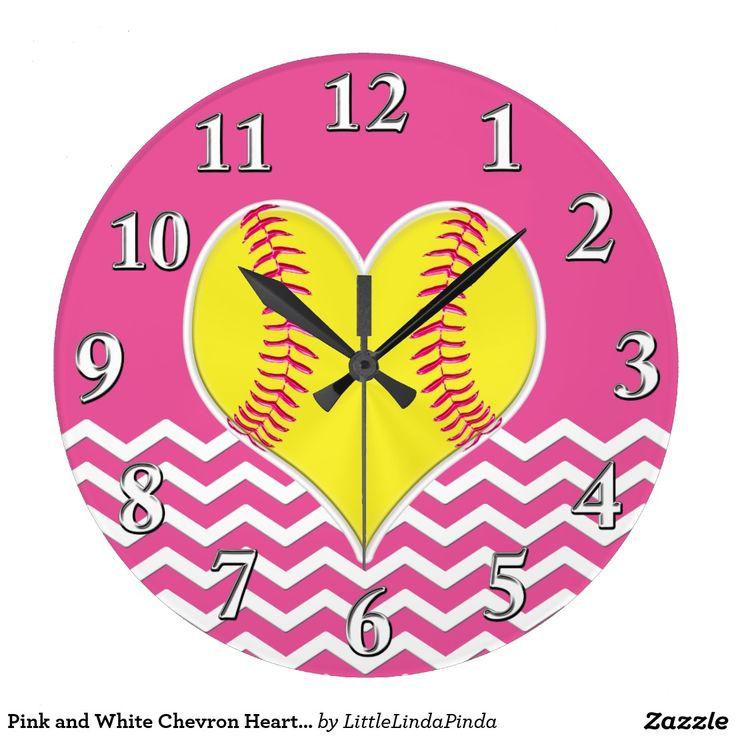 Pink And White Chevron Heart Softball Wall Clocks